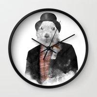 phil jones Wall Clocks featuring Mr. Phil by Robert Farkas