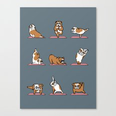 English Bulldog Yoga Canvas Print