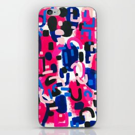 Magenta Blue Abstract Acrylic Painting Kusama Primitive Shapes iPhone Skin