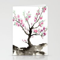 sakura Stationery Cards featuring Sakura by Brazen Edwards