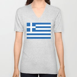 Flag of Greece, High Quality image Unisex V-Neck