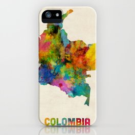 Colombia Watercolor Map iPhone Case