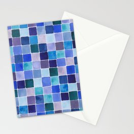 Blue Squares Stationery Cards