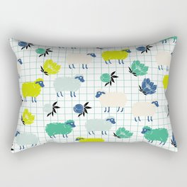 Cute Sheep and Flowers in Blue and Green Rectangular Pillow