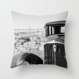 Abandoned Old Car In Desert Throw Pillow