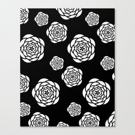 Black and white mod flower pattern Canvas Print