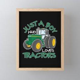 Tractor loving Boy Farming Son Nephew Farmer Framed Mini Art Print