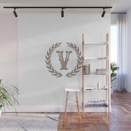 Beige Monogram: Letter V Wall Mural