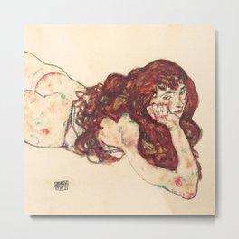 """Egon Schiele """"Auf dem Bauch liegender weiblicher Akt"""" Metal Print"""