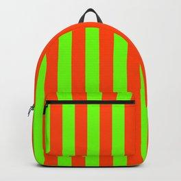 Super Bright Neon Orange and Green Vertical Beach Hut Stripes Backpack