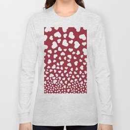 Modern red white romantic valentine's hearts pattern Long Sleeve T-shirt