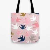 sloths Tote Bags featuring Pattern with sloths by Darish