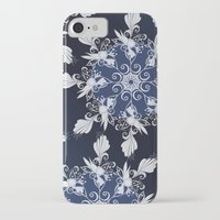 damask iPhone & iPod Cases featuring Damask blue by /CAM
