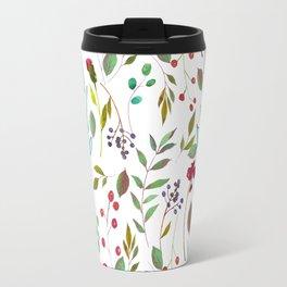 autumn winter berries watercolor pattern Travel Mug