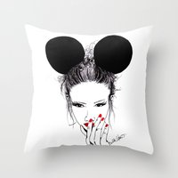 minnie mouse Throw Pillows featuring Minnie Mouse by Bella Harris