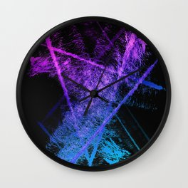 Colorful Abstract Brushstrokes on Black Background Wall Clock
