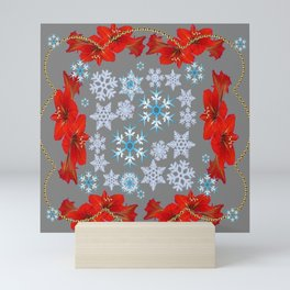 RED AMARYLLIS FLORAL GOLD  GARLAND & SNOWFLAKES  CHRISTMAS ART Mini Art Print