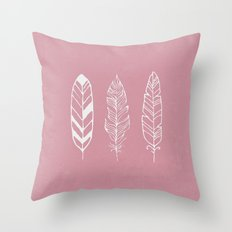 Three feathers - rose Throw Pillow