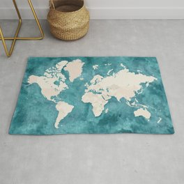 Teal watercolor and light brown world map Rug