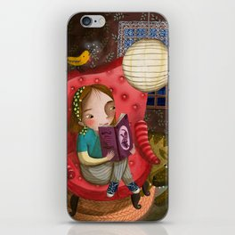 Reading at night iPhone Skin