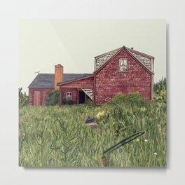 Red New England Farmhouse Illustration Metal Print