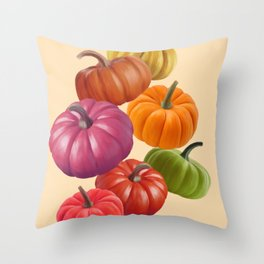 Colourful Pumpkins Throw Pillow