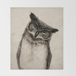 Owl Sketch Throw Blanket