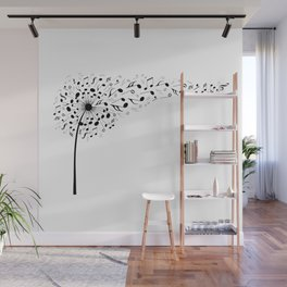 Music dandelion with flying musical notes Wall Mural
