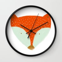 mr fox Wall Clocks featuring mr fox by Sweet Reverie
