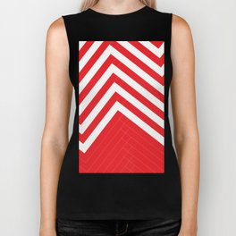 Red White Geometric #red #white #artdeco #fresh #summer #minimal #art #design #kirovair #geometric # Biker Tank