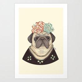 Frida Pug Kahlo Art Print