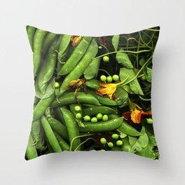 Nasturtiums and Peas Throw Pillow