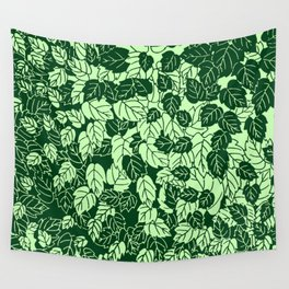 Japanese Leaf Print, Emerald and Lime Green Wall Tapestry