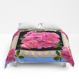 BABY BLUE-CREAM PINK ROSE CLUSTER ART Comforters
