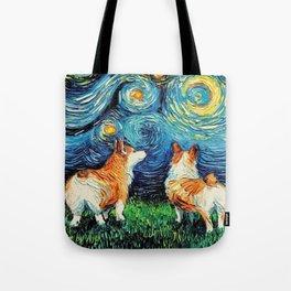 Corgi in Starry Night Tote Bag