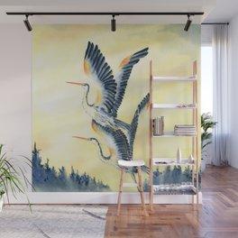 Flight Of Blue Heron  Wall Mural