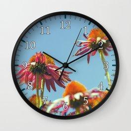 Coneflowers Reaching Skyward Wall Clock