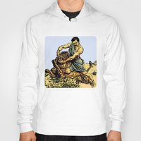 parks and recreation Hoodies featuring Ron Swanson Slaying A Lion  |  Parks and Recreation by Silvio Ledbetter