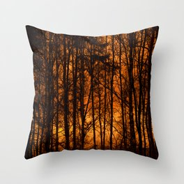 Tree Silhouettes Against The Sunrise Sky - Winter Scene #decor #society6 #homedecor Throw Pillow