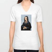 anaconda V-neck T-shirts featuring Mona Lisa - blue shining WoodCut Collage by Marko Köppe