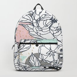 Modern geometric shapes and floral strokes design Backpack