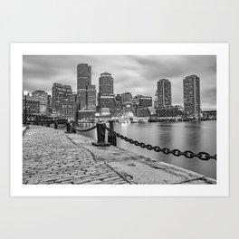 Monochrome Boston Skyline Over the Harbor - Black and White Art Print