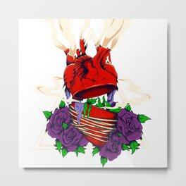 split heart surrounded by flowers Metal Print