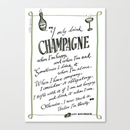 Champagne quote (Lily Bollinger) Canvas Print
