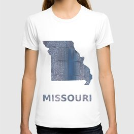 Missouri map outline Slate gray vague watercolor painting T-shirt