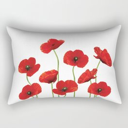 Poppies Field white background Rectangular Pillow