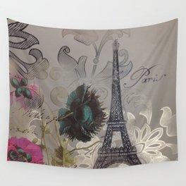 elegant poppy flowers damask vintage paris Eiffel Tower botanical art Wall Tapestry