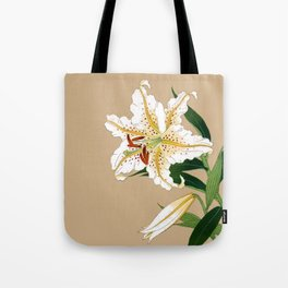 Vintage Japanese Lilly. White, Green and Beige Tote Bag