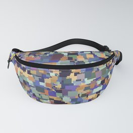 vintage geometric square pixel pattern abstract in purple blue brown Fanny Pack
