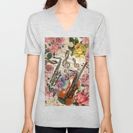 Vintage pink bohemian roses classical notes musical instruments Unisex V-Neck